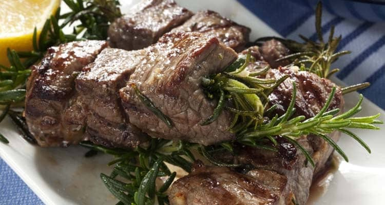 steak and rosemary skewers