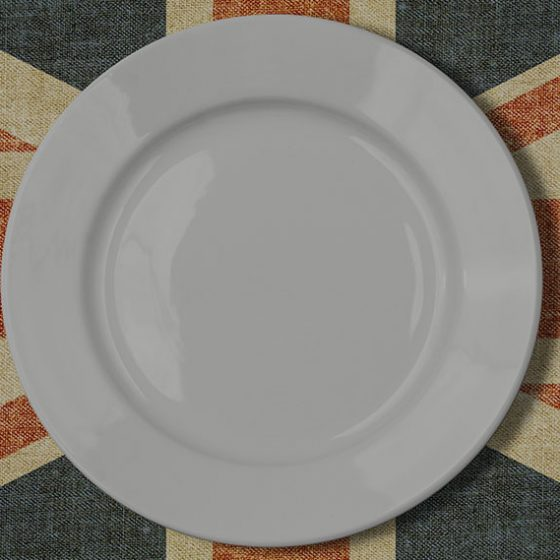 A plate, knife and fork on the union jack to celebrate British Food Fortnight