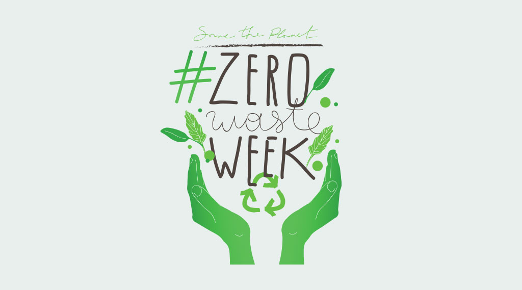 An illustration of two hands holding the Zero Waste Week logo with