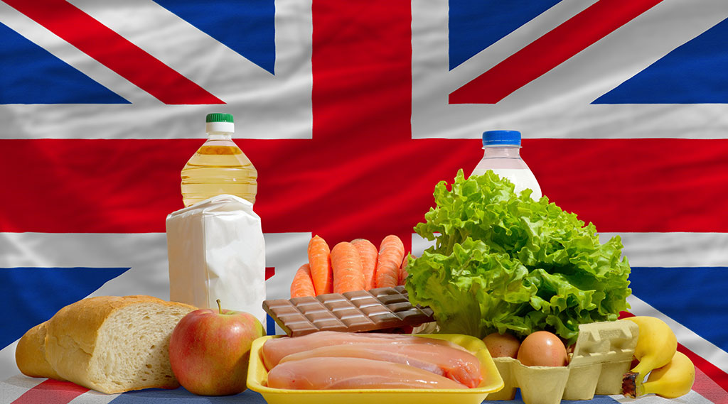 A selection of British food in front of the Union Jack flag