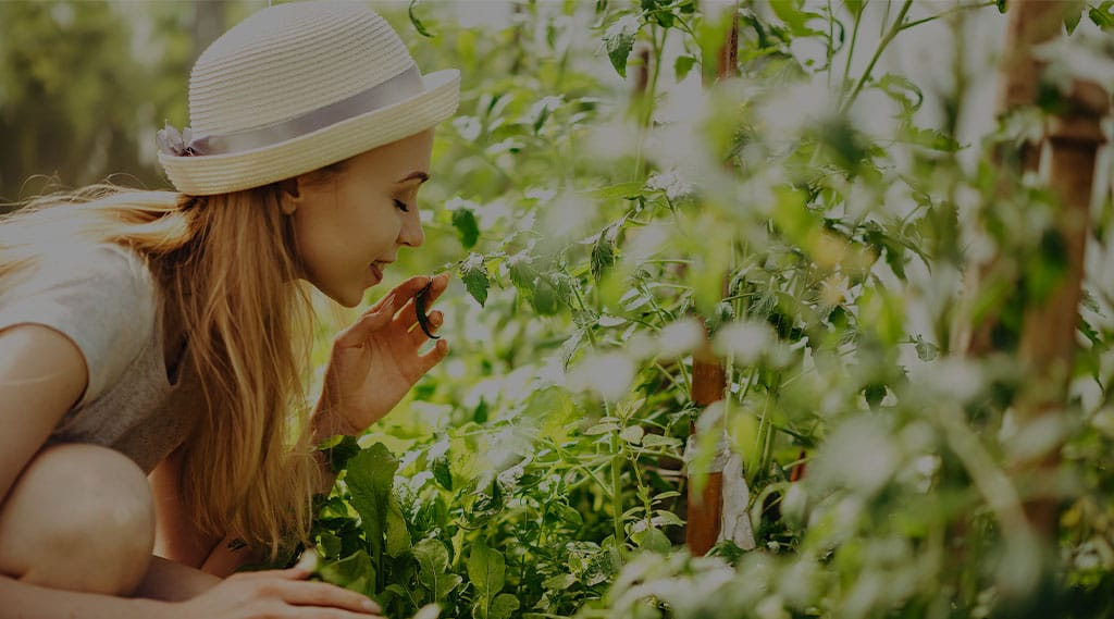 Woman enjoying the aroma of fresh herbs outside